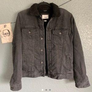 Old Navy Black Sherpa Lined Denim Jacket